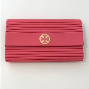Hot pink ribbed Tory Burch Clutch